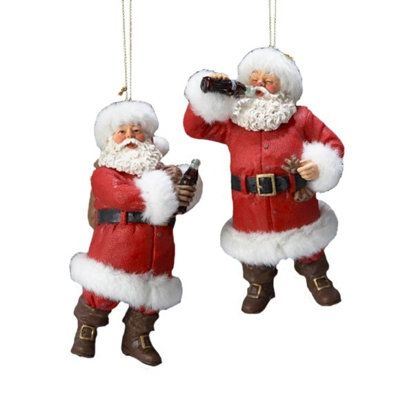 pack of 8 fabriche santa claus with coca cola christmas ornaments 45 red