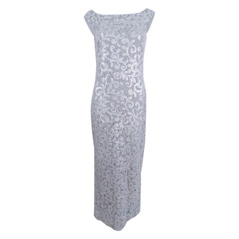 Lauren Ralph Lauren Women's Sequined V- Back Gown - Silver