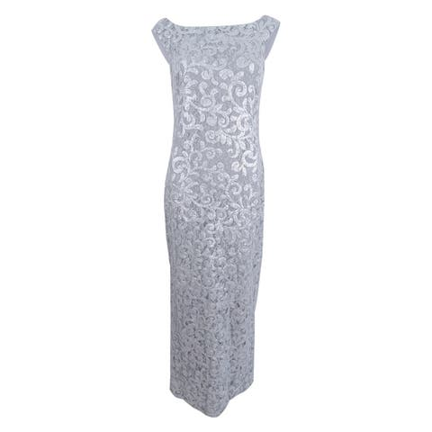 198989e7af0 Lauren Ralph Lauren Women s Sequined V- Back Gown - Silver