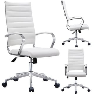 Attractive 2xhome Modern White High Back Office Chair Ribbed PU Leather Manager Tilt  Conference Room Computer Desk