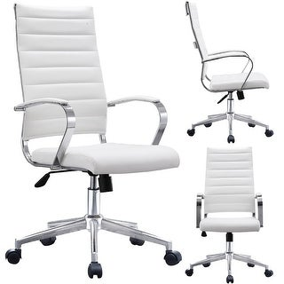 2xhome -Modern White High Back Office Chair Ribbed PU Leather Swivel Tilt Conference Room Computer Desk Cushion Seat Boss