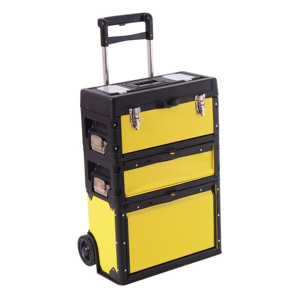 Shop Costway Rolling Stacking Portable Metal Trolley Toolbox Chest