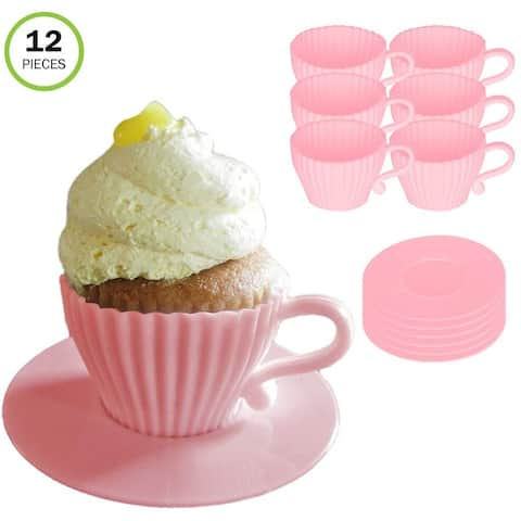Evelots Silicone Baking Teacup Set W/Saucers-Cupcake Mold-Reusable