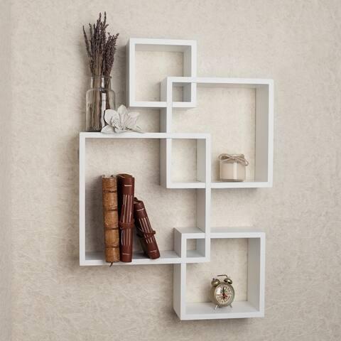 White Laminate Intersecting Cube Shelves