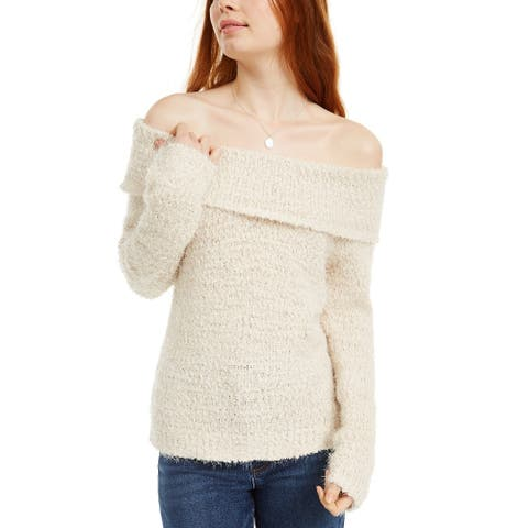 Freshman Juniors' Off-The-Shoulder Fuzzy Sweater Beige Size 2 Extra Large