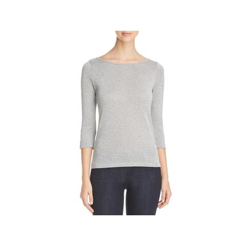 Three Dots Womens Fitted Top Sparkle Shimmer