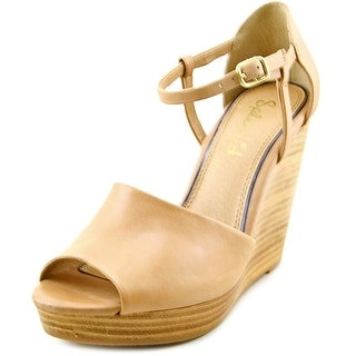 Splendid Davie Women Open Toe Leather Nude Wedge Sandal