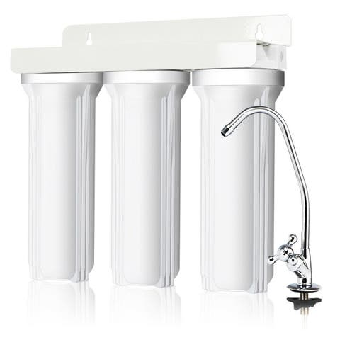 Costway 3-Stage Under-Sink Water Filter System Water Filtration with Chromed Faucet New - as pic