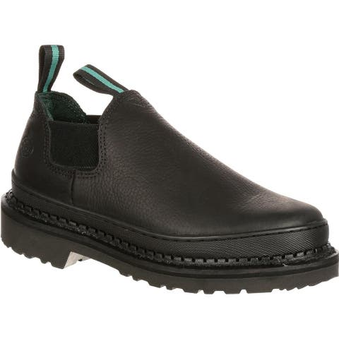 Georgia Giant: Men's Black Leather Slip-On Romeo Work Shoes