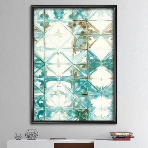 Designart 'Turquoise Watercolor geometrical IV' Modern & Transitional Framed Art Print