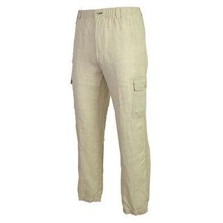 Caribbean Men's 100% Linen Elastic & Drawstring Waist Cargo Pants