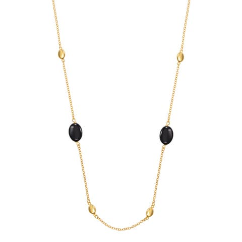 "BRONZORO 18 k Gold Over bronze 28"" Long Beads Onyx Necklace"