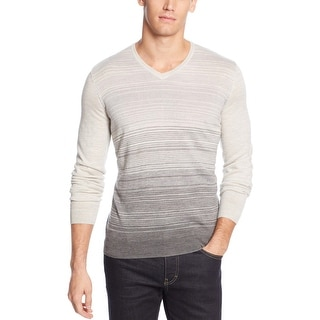 Calvin Klein Merino Wool-Blend Stripe V-Neck Sweater Large L Grey Power