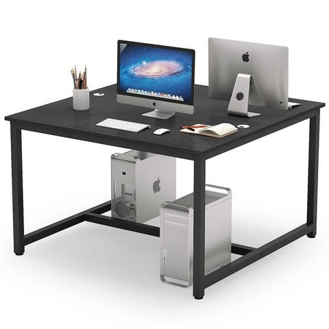 47 x 47 inch Computer Desk Two Person Desk Double Workstation