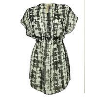 Miken Women's Chiffon  Dress Swin Cover ups - BLACK/WHITE - M