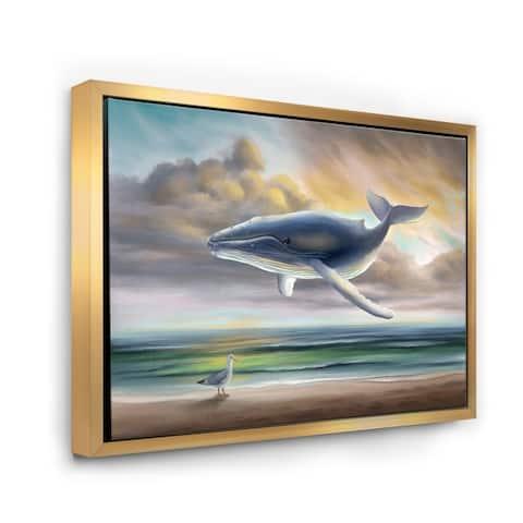 Designart 'Whale Floating In The Sky' Children's Art Framed Canvas Wall Art Print