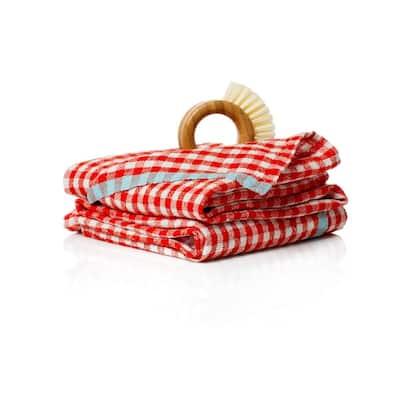 Gingham Orange/Aqua Towels 20x30 - Set of 2
