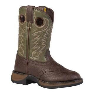 """Durango Boot Boys' BT206 8"""" Rebel Dark Brown/Forest Green"""