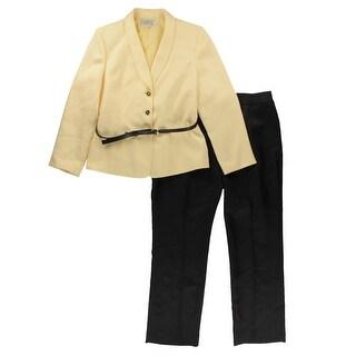 Tahari ASL Womens Stella Herringbone Two Tone Pant Suit - 18