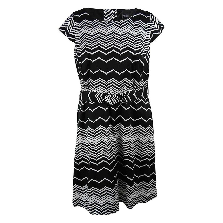 Spence Womens Cap Sleeve Belted Chevron A-Line Dress - Black/White - 20W