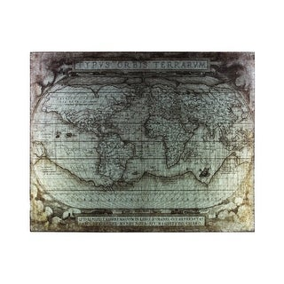 "Metal Etched Painting of ""Tyous Orbis Terrarum"" Map, Galvanized Gray"