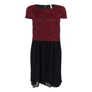 Kensie Women's Short Sleeve Chevron Print Dress