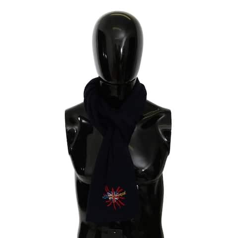 Dolce & Gabbana Blue #DGLovesLondon Wrap Shawl Wool Men's Scarf - one-size