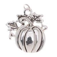 Antiqued Silver Plated Harvest Pumpkin Charm 21mm (1)