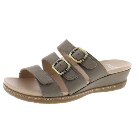 Dansko Womens Allyson Wedge Sandals Leather Slip On - Stone