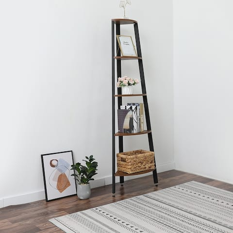 Corner Shelf, 5-Tier Bookshelf, Plant Stand, Wood Look Accent - 8' x 10'