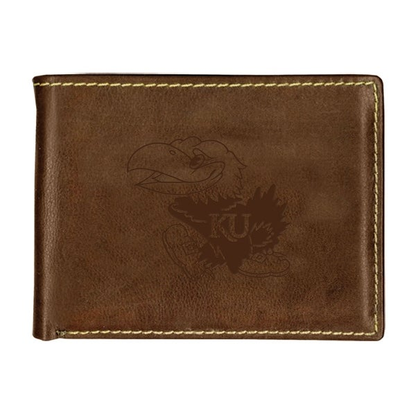 University of Kansas Contrast Stitch Bifold Leather Wallet
