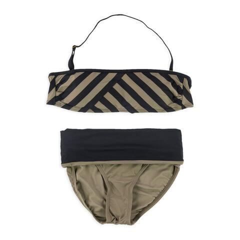 DKNY Womens Striped 2 Piece Bandeau, brown, X-Small