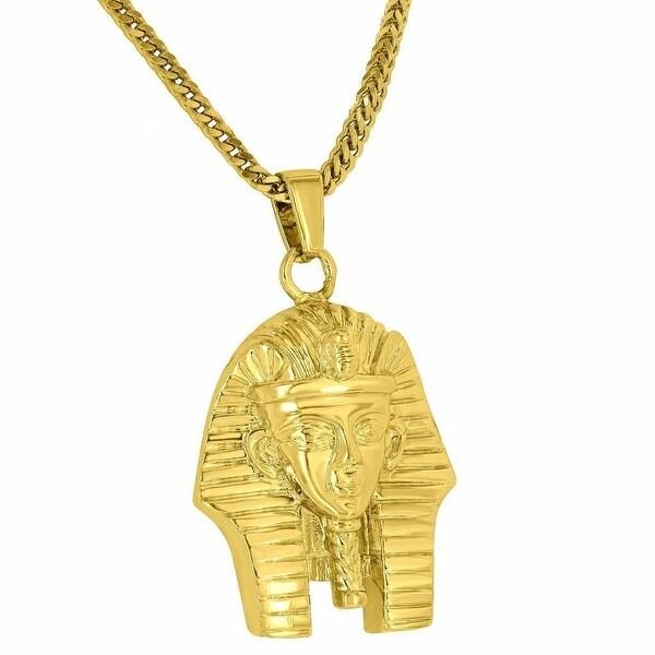 """Mens Designer Egyptian Pharaoh Pendant 18K Yellow Gold Tone Free Stainless Steel Franco 24"""" Chain"""