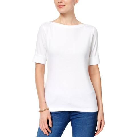 Karen Scott Womens Petites T-Shirt Solid Knit