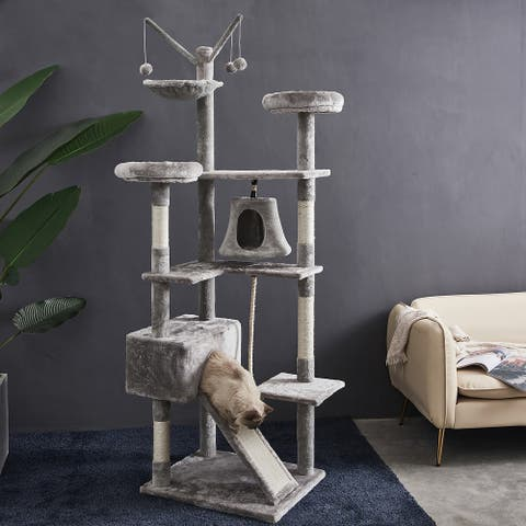 Multi-Level Kitten Tower Condo with Cat Scratching Post and Ladder