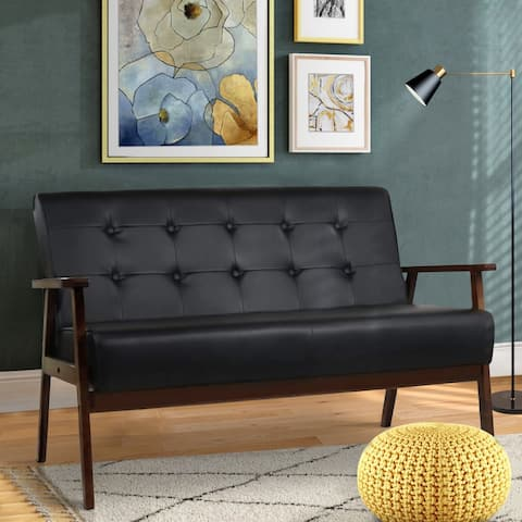Modern Solid Loveseat Sofa Upholstered black PU Leather /blue Linen 2-Seat Couch