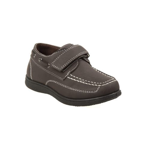 Josmo Little Boys Brown Stitch Detail Hook-And-Loop Boat Shoes