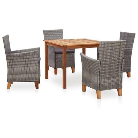 vidaXL 5 Piece Dining Set Poly Rattan and Solid Acacia Wood Gray
