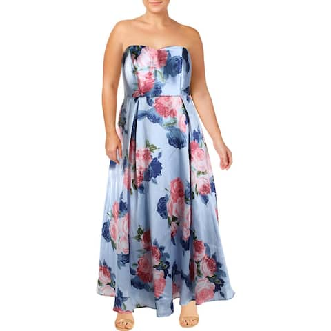Speechless Womens Plus Evening Dress Floral Strapless - Sky Rose