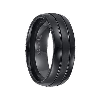 SEVAG Domed Grooved Black Tungsten Carbide Ring with Brush Finish Center and Polished Edges by Triton Rings - 8mm