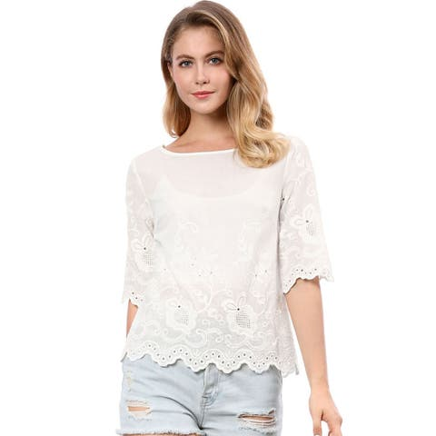 Unique Bargains Women's Elbow Sleeves Round Neck Embroidery Blouse