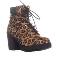 ZIGI Kerin Lace Up Heeled Ankle Boots, Leopard