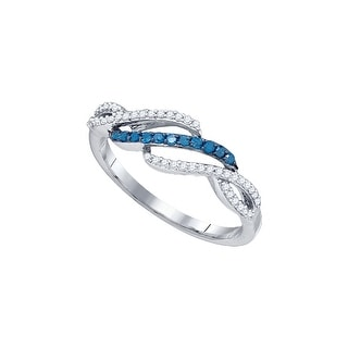 10kt White Gold Womens Round Blue Colored Diamond Woven Band Fashion Ring 1/4 Cttw