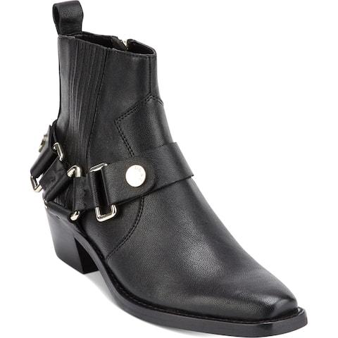 DKNY Womens Mina Cowboy, Western Boots Leather Cowgirl - Black