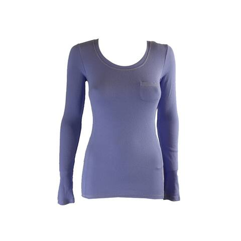 Jenni Juniors Purple Long-Sleeve Ribbed Pocket Pajama Top XS