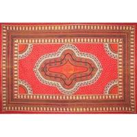 Handmade 100% Cotton Dashiki Tapestry Tablecloth Bedspread Coverlet Twin Orange