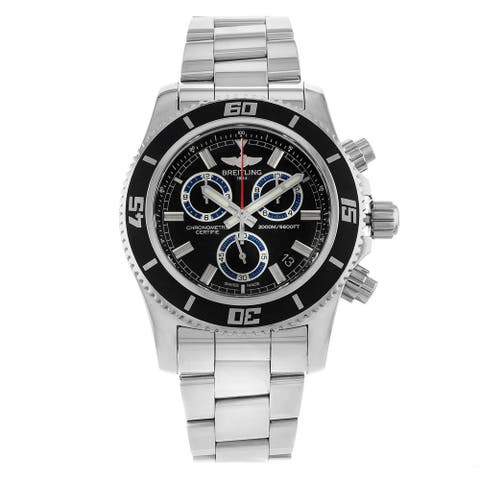 Breitling Men's A73310A8-BB74-160A 'Superocean' Chronograph Stainless Steel Watch - Black