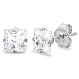 Amanda Rose Stainless Steel 6mm Square-Princess Cubic Zirconia Stud Earrings (4ct tw)