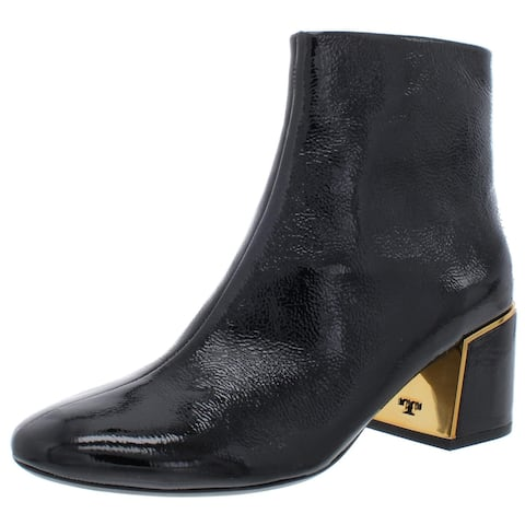 Tory Burch Womens Juliana Booties Leather Patent Tumbled