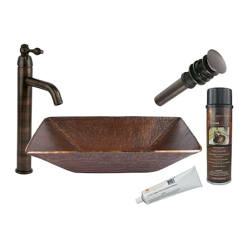 Premier Copper Products BSP1_PVMRECDB Vessel Sink, Faucet and Accessories Package